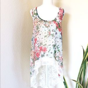 BEBE FLORAL & LACE TOP IN PINKS & WHITE SZ M/L